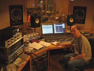 Chris Garges working at Airtime Studio in Bloomington, IN